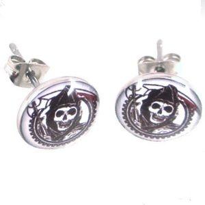 Jewelry - ⭐️3/$21 Grim Reaper Stainless Steel Stud Earrings